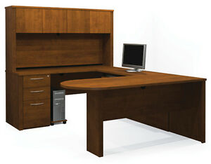 Bestar Prestige L Computer Desk With Keyboard Shelf In Chocolate 99860 1469