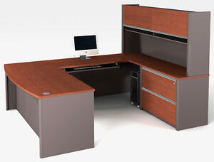 Bestar Connexion U Shape Office Desk W Oversized Pedestal In Bordeaux