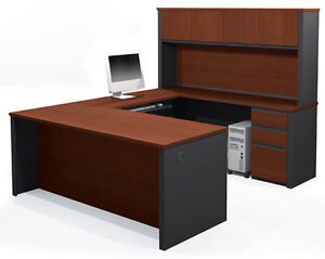 Bestar Prestige U Computer Desk With Hutch In Bordeaux Graphite 99853 1739