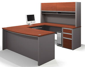 Bestar Connexion U Office Desk With 3 Drawer Pedestal In Bordeaux
