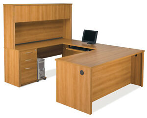 Bestar Embassy Cappuccino Cherry U Shaped Office Desk W Hutch