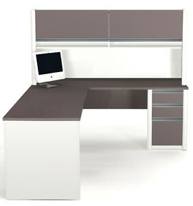 Bestar Connexion L Shape Office Desk W Hutch In Sandstone Slate 93859 1559