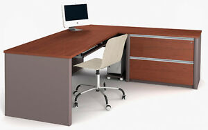 Bestar Connexion L Shape Office Desk W Oversized Pedestal In Bordeaux