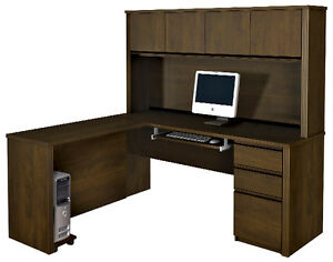Bestar Prestige L Desk With 4 Door Hutch In Chocolate 99872 1569