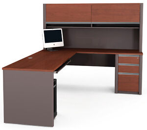 Bestar Connexion L Shape Office Desk W Pedestal In Bordeaux Slate