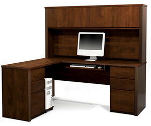 Bestar Prestige L Computer Desk With Hutch In Chocolate 99852 1669