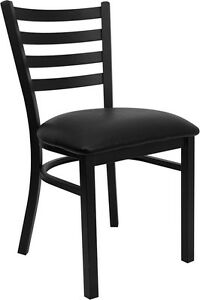 Black Ladder Back Metal Restaurant Chair Black Vinyl Seat Model Bk mtl lad