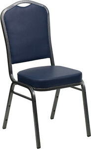 Lot 100 Crown Back Stacking Banquet Chairs Navy Blue Vinyl Silver Vein Frame