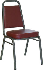 Lot 100 Thickly Padded Burgundy Vinyl Banquet Stack Chairs With Silver Frame