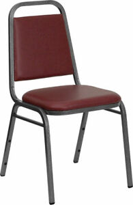 Lot 100 Burgundy Vinyl Banquet Conference Catering Stack Chairs W Steel Frame