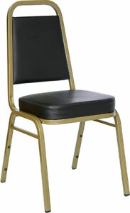 Lot 100 Thickly Padded Black Vinyl Banquet Catering Stack Chairs With Gold Frame