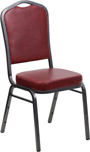 Lot 100 Crown Back Stacking Banquet Chairs W Burgundy Vinyl Silver Vein Frame