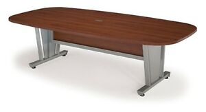 8ft Conference Table Steel Frame Cherry Finish Thermofused Laminate Tabletop