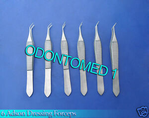 6 Adson Dressing Forceps Angled Surgical Instrumens