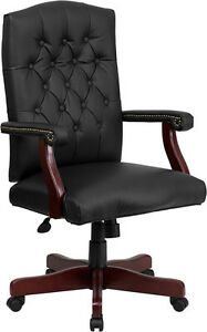 Lot Of 12 Black Leather Executive Conference Office Chairs With Mahogany Finish