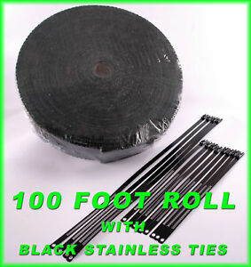 Black Exhaust Header Wrap Pipe Tape Kit 2 X 100 Ft Black Stainless Lock Ties