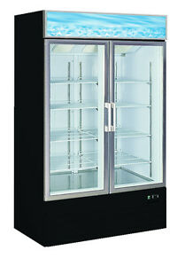 Alamo 25cf Commercial Black 2 Door Glass Ice Cream Display Freezer Merchandiser