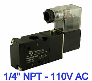 1 4 Pneumatic 3 Way Electric Directional Control Electric Solenoid Valve 110v