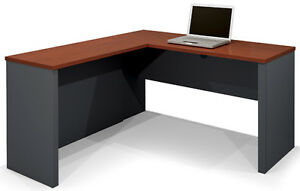 Laminate Bordeaux Graphite Finish L Shape Desk