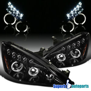 For 2003 2007 Accord Smoke Led Halo Projector Headlight Head Lamps Glossy Black
