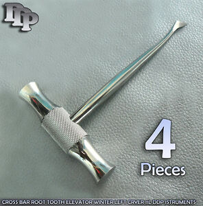 4 Pieces Of Cross Bar Root Tooth Elevator Winter Left Cryer 11l Instruments