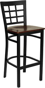 Black Window Back Metal Restaurant Bar Stool With Mahogany Wood Seat