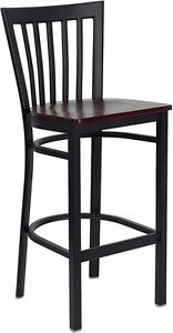 Black School House Back Metal Restaurant Bar Stool With Mahogany Seat