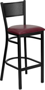 Black Grid Back Metal Restaurant Bar Stool With Burgundy Vinyl Seat