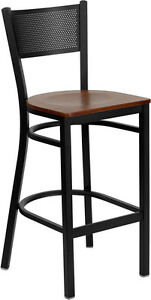 Black Grid Back Metal Restaurant Bar Stool With Cherry Wood Seat