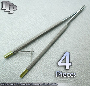 4 Pieces Of Without Lock 5 T c Castroviejo Barraquer Needle Holder