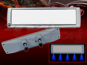 Large Clip On Rear View Mirror Silver 270mm Flat 5 Blue Led Accent Map Light