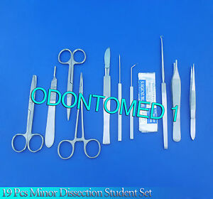 19 Pc Minor Dissection Student Set Surgical Veterinary Ds 742