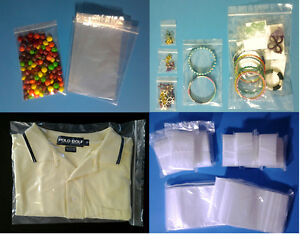 Clear Plastic Ziplock Reclosable 2 mil Poly Bags Food jewelry Small large