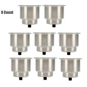 8pcs Stainless Steel Cup Holders Recessed Boat Stainless Drink Holder With Drain