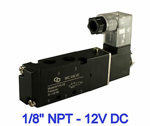 Pneumatic 4 Way Electric Directional Control Air Solenoid Valve 12v Dc 1 8 Inch