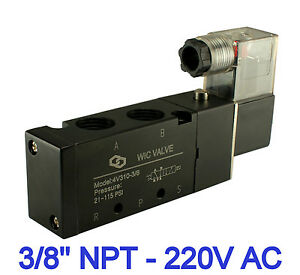 Pneumatic 4 Way Electric Directional Control Solenoid Air Valve 220v Ac 3 8 Inch