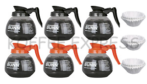 Bunn 64 Oz Coffee Pots 3 Regular And 3 Decaf 300 Free Cf12 Filters