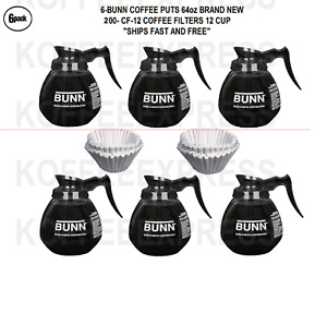 Bunn Coffee Pots 64oz 6 Decanters Total Regular 200 Free Cf12 Filters