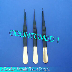 6 Debakey Vascular Tissue Forcep Atraumatic Surgical Veterinary Ent 3 Pcs