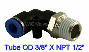 5pcs Pneumatic Male Elbow Connector Air Push In Fitting Tube Od 3 8 X Npt 1 2