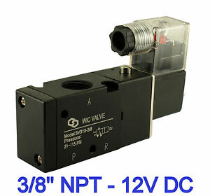 Pneumatic 3 Way Electric Directional Control Air Solenoid Valve 12v Dc 3 8 Inch