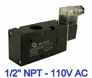 1 2 Inch Pneumatic 3 Way Electric Directional Control Air Solenoid Valve 110v Ac