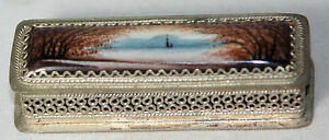 Rare Antique Scenic Enamel Metal Lined Needle Case Sewing