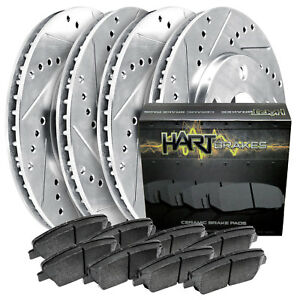 Front Rear Kit Platinum Hart Drill Slot Brake Rotors Ceramic Pads 1861