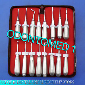 Set Of 18 Dental Apical Root Elevators Surgical Instruments