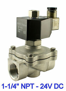 Normally Open Stainless Air Gas Water Solenoid Valve 1 25 Inch 24v Dc Viton