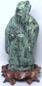 Very Old Antique Chinese Verdigris Bronze Shoulao Sage God Figure Statue W Stand