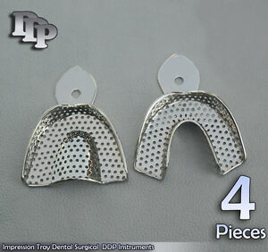 4 Set Dental Impression Trays Perforated Of 2 Pcs S Surgical
