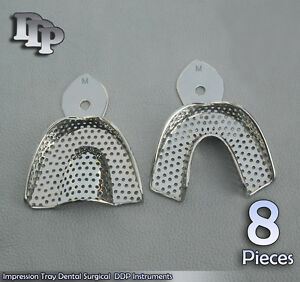 8 Set Dental Impression Trays Perforated 2 Pcs M Size Surgical Ddp Instruments