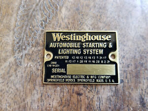 Westinghouse Automobile Starting Lighting System Acid Etched Brass Data Plate